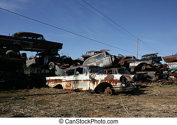 1957 Cheverolet sedan - An old rusty 1957 Cheverolet at...