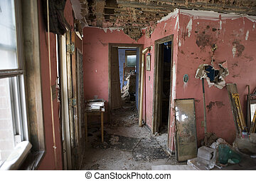 New Orleans after Katrina- My house, interiors. - A view of...