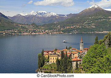 fantastic landscape of Lake Come with Varenna village in the...