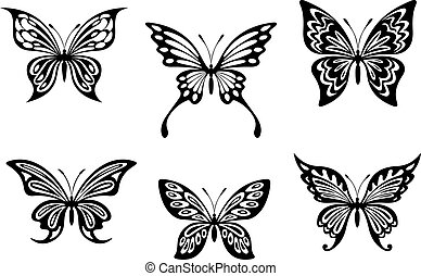 Black butterfly tattoos and silhouettes isolated on white...