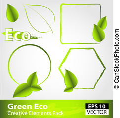 Green ecology design elements - Creative pack of green...