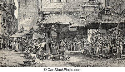 Butchers in Frankfurt - Old illustration of butchers shop in...