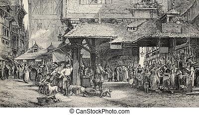 Butcher's in Frankfurt - Old illustration of butcher's shop...