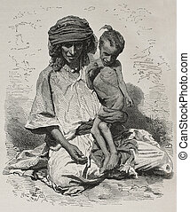 Algeria famine bis - Antique illustration of undernourished...