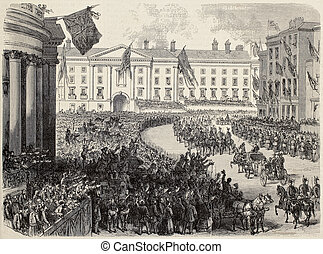 Prince of Wales in Dublin - Antique illustration of Prince...