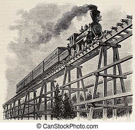 Train upon bridge - Old illustration of train crossing...