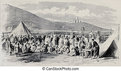 Algerian beggars - Old illustration of Algerian people...
