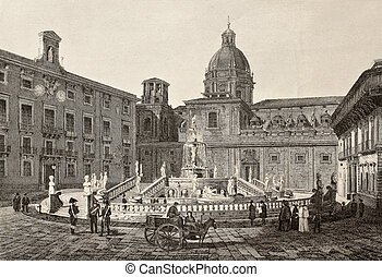 Piazza Pretoria, Palermo, Italy - Antique illustration of...