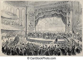Chigago electoral meeting - Antique illustration of...