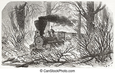 Train through fire - Old illustration of a train crossing...