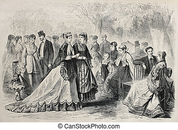 Fashion 1868 - Old illustration of springtime fashion 1868...