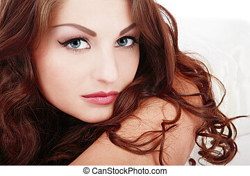 Beautiful girl - Portrait of beautiful blue-eyed girl with...