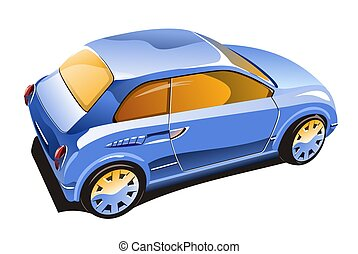 Blue car - Illustration of blue saloon car