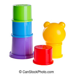 childs toy stacking cups on background - childs toy stacking...