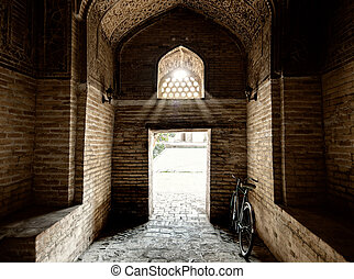 Entranse in Miri Arab Madressah in Bukhara. - Main entranse...