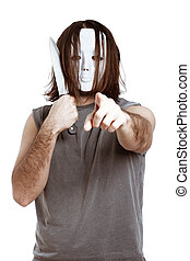 Dangerous masked man with knife - Bizarre masked man with...