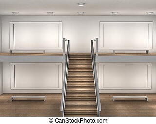 illustration of a empty museum room - 3d illustration of a...