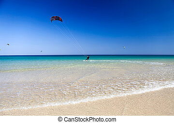Kite Surfing - kite-surfing near the cost of Fuerteventura...