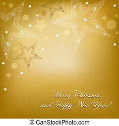 Gold Card With Stars And Text, Vector Illustration