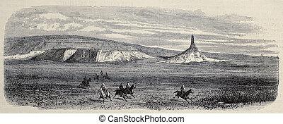American desert - Old view of America desert. Original,...