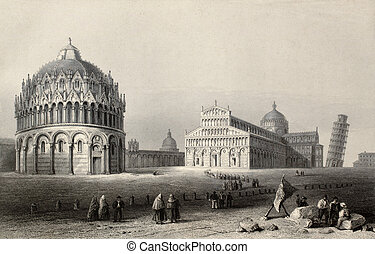 Miracles square - Antique illustration of Piazza dei...