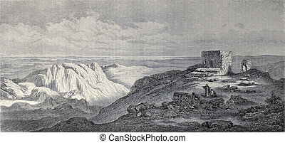 Mount Sinai - Old illustration of Mount Sinai, Egypt....