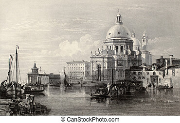 Santa Maria della Salute - Antique illustration of Santa...