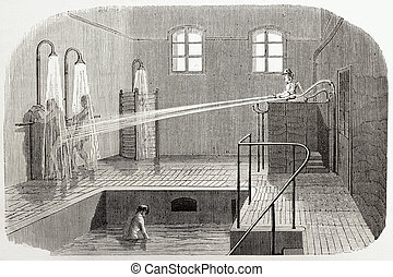 Hydrotherapy - Old illustration of hydrotherapy in Sainte...