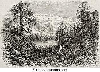 Sierra Nevada bis - Old view of Sierra Nevada mountains,...