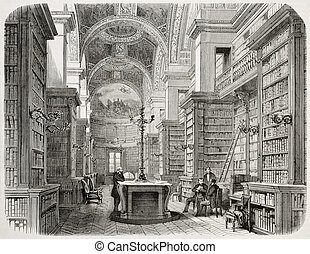 Library - Old illustration of Palais Bourbon library, Paris...