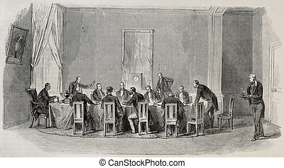 Parliamentary Commission - Antique illustration of...