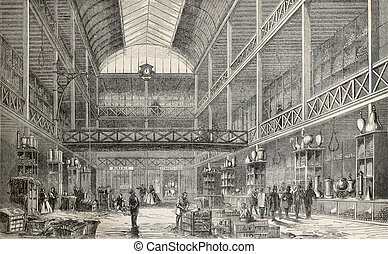 Glassware storehouse - Old illustration of central...