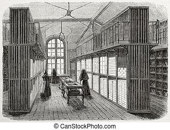 Lingerie storeroom - Antique illustration of the lingerie...