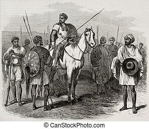 Abyssinian warriors - Antique illustration of Abyssinian...
