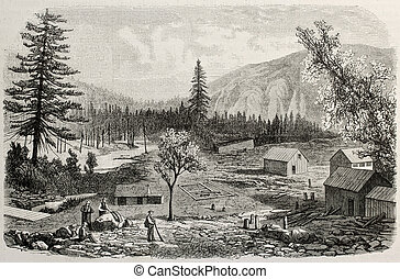 North Yuba river - Antique illustration of a village on the...