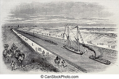 Ships convoy - Antique illustration of a ship convoy sailing...