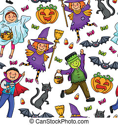 halloween pattern - seamless pattern with kids in Halloween...