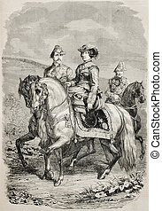 Isabella II of Spain - Old equestrian portrait of Isabella...