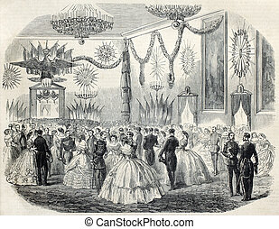 Cremona ball - Old illustration of French army ball at...