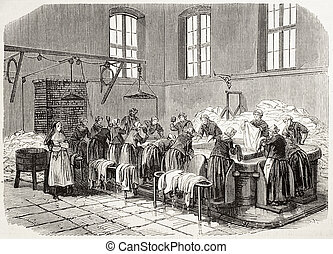 Laundry - Antique illustration of the Laundry of Saint Anne...