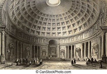 Pantheon - Antique illustration of Pantheon in Rome, Italy....