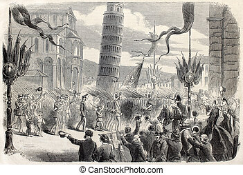 Parade in Pisa - Antique illustration of a military parade...
