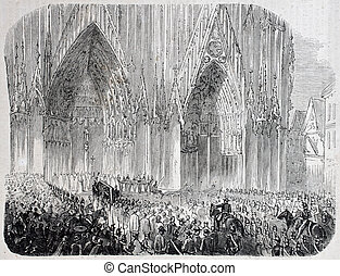Strasboug cathedral - Antique illustration of funerary...