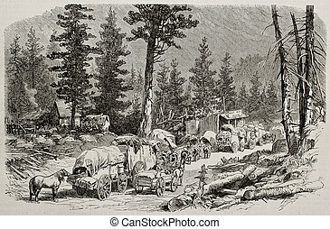 Caravan near Cisco - Old illustration of caravan near Cisco,...