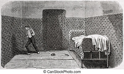 Padded room - Antique illustration of a padded room at...