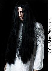 assustador, fantasma, menina