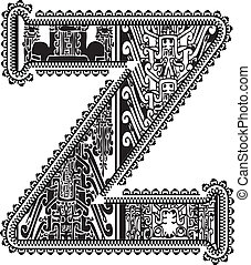 Ancient letter Z. Vector illustration