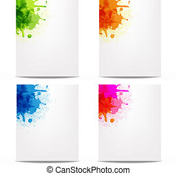 Set Banners With Color Blob - 4 Banners With Color Blob,...