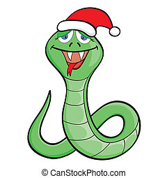 Cartoon snake in a cap - Cute cartoon snake in a New Years...