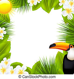 Green Frame With Tropical Elements